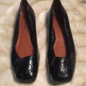 Dollhouse faux croc black ballet flats